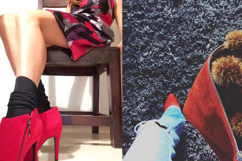 scarpe rosse in autunno