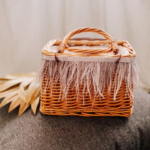 borsa mini picnic piumato cenere