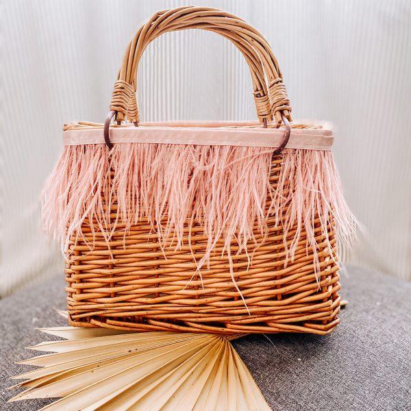 mini picnic bag con piume rosa