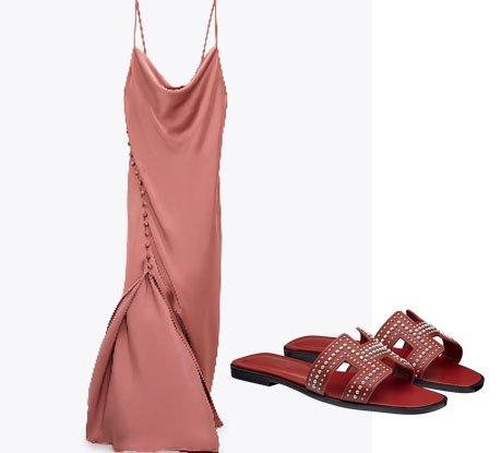 vestito sottoveste rosa antico