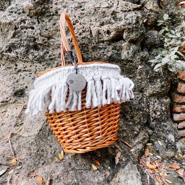 Borsa cestino con lana